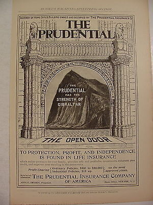 1899 The Prudential Has the Strength of Gibraltar Ad ~ Rock of Gibraltar