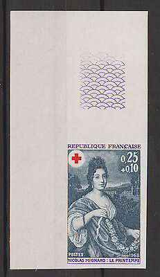 France 1968-69 Spring, Nicolas Mignard 25c + 10c ScB421 Imperf Color Proof MNH