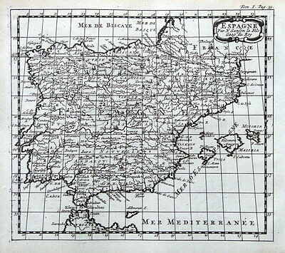 SPAIN & PORTUGAL  N.Sanson original antique map 1721