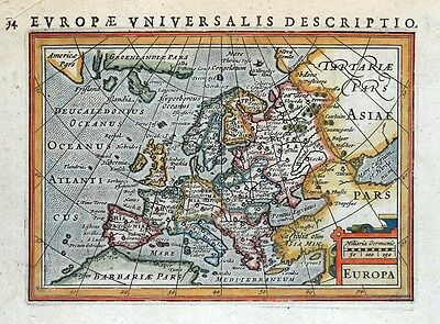 EUROPA, EUROPE, PETRUS BERTIUS original antique hand coloured miniature map 1618