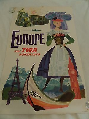 Original Europe fly TWA airline travel poster by David Klein