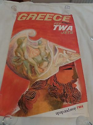 Greece Fly TWA Jets original travel poster David Klein 1964 - not reproduction