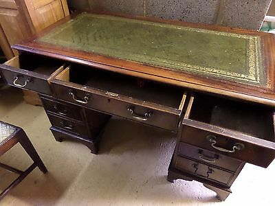 Old twin pedestal green leather top writing desk