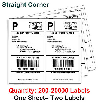 200-20000 Half Sheet 8.5x5.5 Shipping Label 2 Per Sheet Self Adhesive - UPS USPS