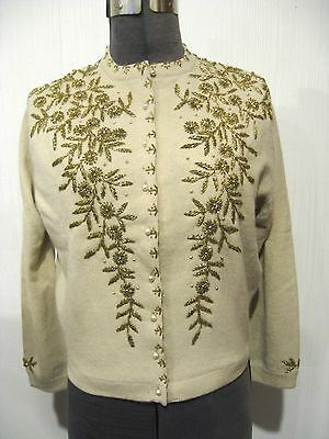 VINTAGE 1950s beaded sweater beige cardigan gold beads cashmere? HONG KONG Sz 40