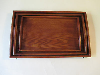 VTG  Set of 3 Wood Serving Trays - Country style , wood with metal corners