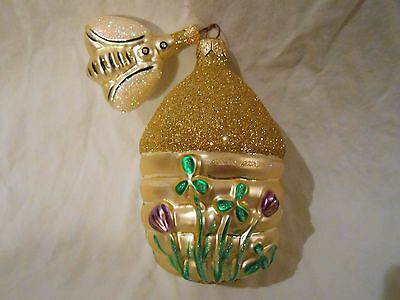 "Patricia Breen Christmas Ornament 9609 Clover Beeskep & Bee 4.5"" Hive Flowers"