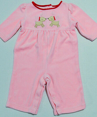 Gymboree Pink Holiday Romper Outfit Reindeer Christmas Girls 3-6 Months A+
