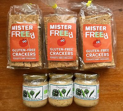 3 Mr Freed Gluten Free Tomato & Oregano Crackers + 3 Organic Artichoke Dip
