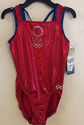 New USA OLYMPIC Rings Red Shatter Glass GK ELITE gymnastics LEOTARD Tank E376 AL
