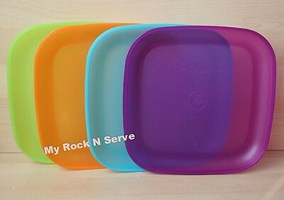 """Tupperware 4 Sheer  Luncheon Square Plates 8"""" New Colorful Rare!"""