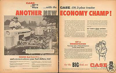 1961 LARGE 2 Page Print Ad of Case 430 Farm Tractor