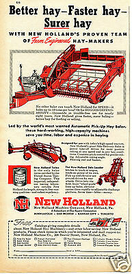 1949 Sperry New Holland Hay Baler Farm Tractor Implement Print Ad