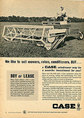 1965 Print Ad of Case 950 Windrower Farm Tractor