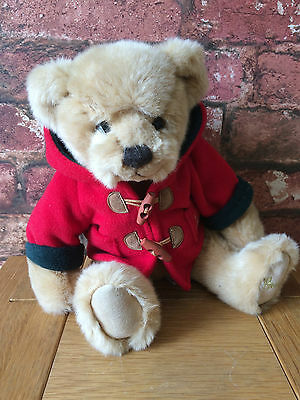 """Delightful Harrods 12"""" Duffle Coated with Loop Toggle Golden Brown Teddy Bear"""