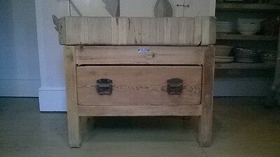 Vintage French Butchers Block On Stand With Drawer