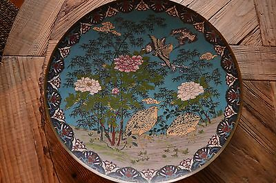 Chinese Cloisonne Enamel on Brass Floral & Partridge Birds Motif Charger