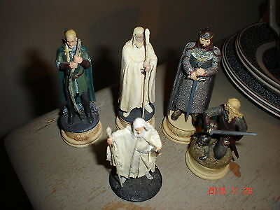 5 Lord Of The Rings Chess Pieces Elessar Legolas  Eowyn And 2  Gandalf The White