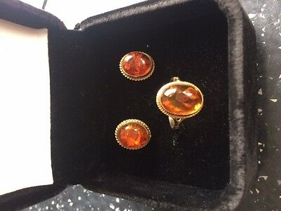 Amber Stone 9ct Gold Hallmarked Earrings and Ring Set