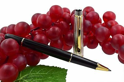 Montblanc Meisterstuck 163DS Solitaire Doue Black Sterling Silver Rollerball Pen