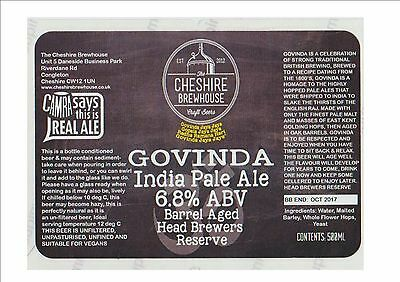 The Cheshire Brewhouse Brewery Beer Label - Govinda