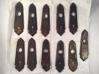 Art Deco Vintage Metal Door Skeleton Key Hole Knob Back Plate Lot Of 11 Antique