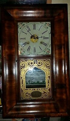 Antique American Mahogany Shelf Clock Chauncey Jerome New Haven Wall Clock c1856