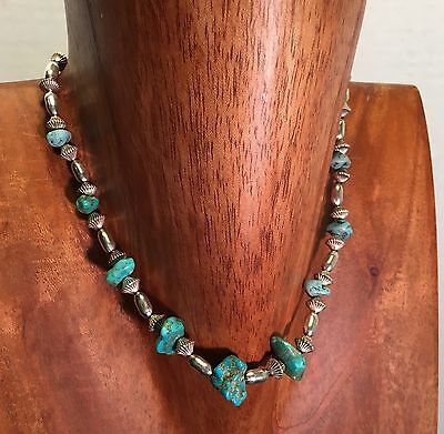Vintage Handmade Turquoise And  Silver Necklace