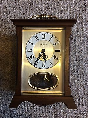 RAPPORT est 1898 HEAVY GOLD BRASS CARRIAGE CLOCK QUARTZ IN WORKING ORDER