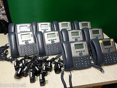 Lot of 10x * Cisco SPA303-G1 3-Line VoIP Small Business Phones w/ Power Adapters