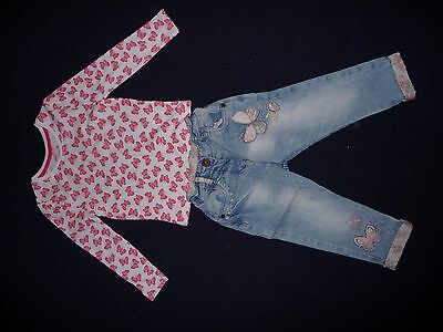 girls next butterfly jeans and butterfly top 1.5 - 2 18 months - 2 years