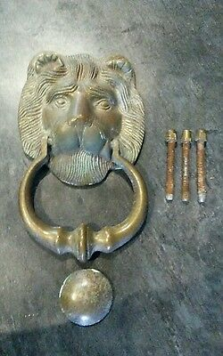 Large reclaimed solid brass lions head door knocker