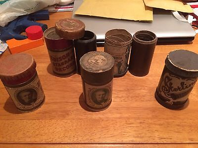Edison Standard Gramophone Phonograph Records And Three Empty Tubes Antique