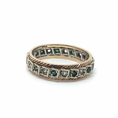 Vintage/Antique 9ct Gold And Silver White And Green Stone Ring