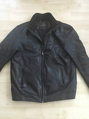Moss Bros Men's Real Leather Jacket (black) Size Medium