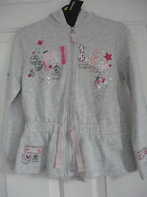 girls Grey Hooded Top jacket fit 7-8 yrs zip up front Jersey look 'SMILE'