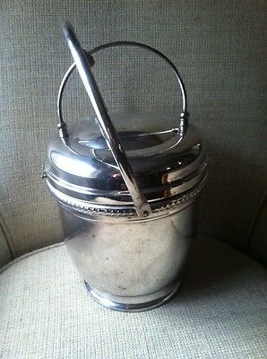 Vintage Funky Eclectic  Double Hinged Silver Ice Bucket Glass Liner Great Patina