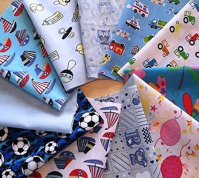11 blues+ cotton and polycotton patchwork, craft ,remnant, material,  fabric