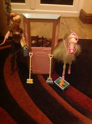 barbie stables, horse and barbie doll