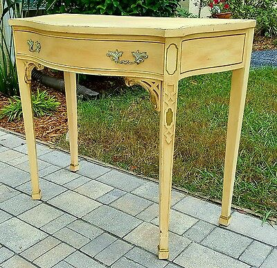 Vintage French Provincial  CHIPPENDALE STYLE BOW FRONT Writing DESK vanity