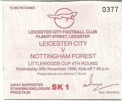 LEICESTER CITY v NOTTINGHAM FOREST 30.11.88 LITTLEWOODS CUP USED TICKET STUB