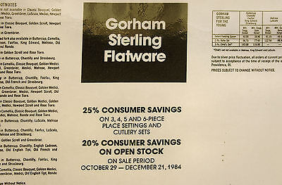 Gorham Sterling Silver Flatware Prices,  1984 pricing, 19 Patterns listed, BONUS