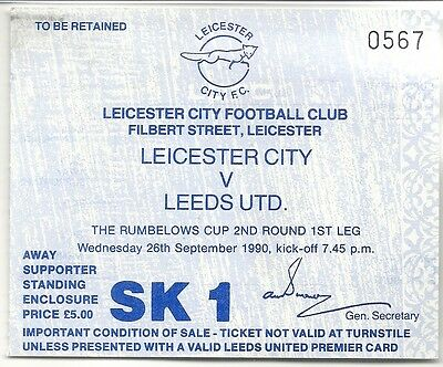 LEICESTER CITY v LEEDS UNITED 26.09.90 RUMBERLOWS CUP USED TICKET STUB