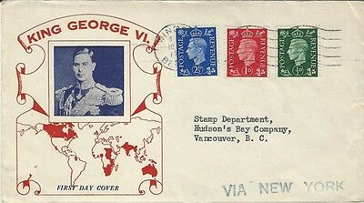 1937 GB KG VI FDC with cachet addressed to Vancouver,Canada Via New York