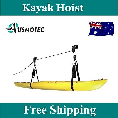 2 x New Kayak Hoist Bike Bicycle Lift Pulley Ceiling With Extra Capacity 60KG