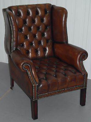 Fully Restored Aged Brown Leather Chesterfield Wingback Armchair Button Base