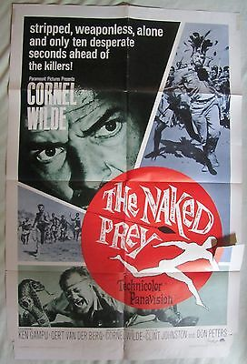 Cornel Wilde, THE NAKED PREY ('65) 1 sheet poster