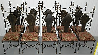 Set Of 10 Gothic High Back Wrought Iron Dining Chairs With Crests X2 Carvers