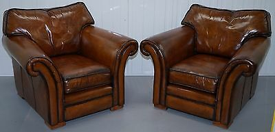 Pair Of Fully Restored Gentleman French Club Armchairs Whisky Brown Leather