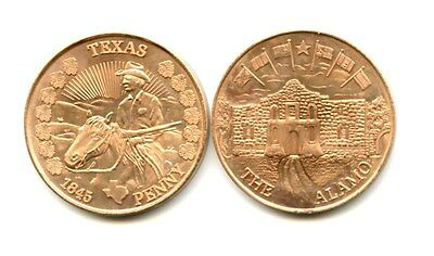 25 Texas Commemorative Pennies *beautiful Coined Art* 1845 Alamo *wow!*